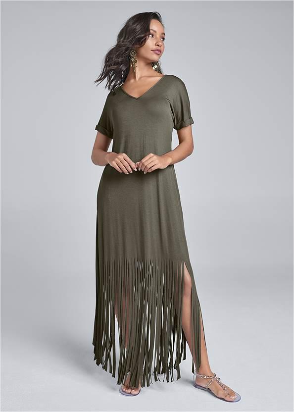 Fringe Detail Maxi Dress,Studded Jelly Thong Sandals