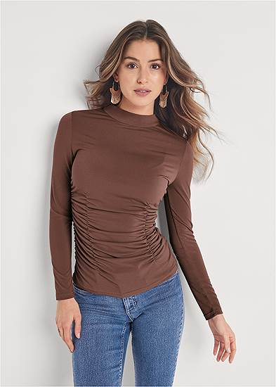 Ruched Mock Neck Fitted Top
