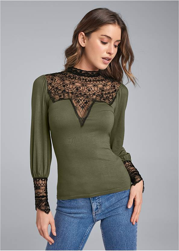 Lace Detail Mock Neck Top,Mid Rise Color Skinny Jeans,Casual Bootcut Jeans,Faux Leather Buckle Boots,Raffia Hoop Earring Set,Studded Fringe Backpack