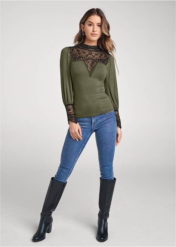 Full front view Lace Detail Mock Neck Top