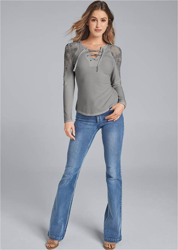 Full front view Lace Sleeve Lace Up Top