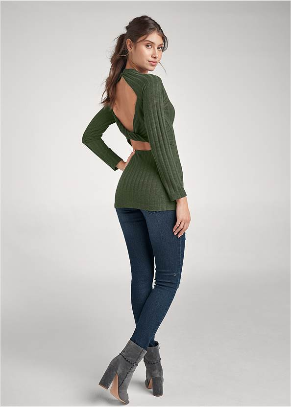 Full back view Ribbed Twist Back Top