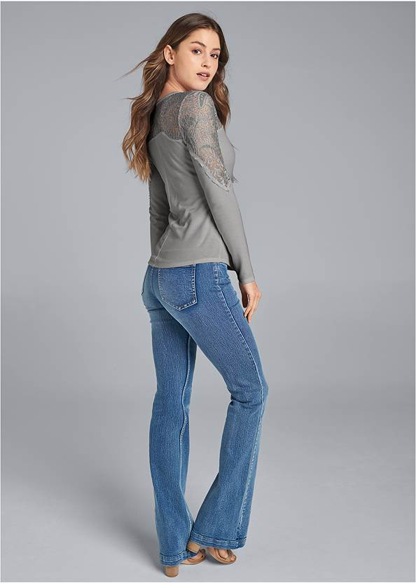 Full back view Lace Sleeve Lace Up Top