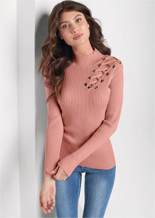 Lace Up Mock Neck Sweater,Casual Bootcut Jeans,Mid Rise Color Skinny Jeans,Circle Detail Booties,Medallion Earrings,Python Clutch