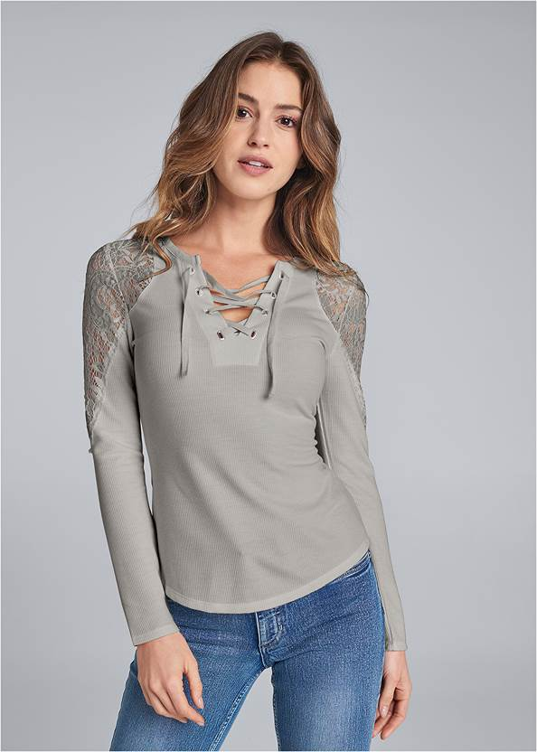 Lace Sleeve Lace Up Top,Casual Bootcut Jeans,Mid Rise Color Skinny Jeans,Studded Buckle Belt Booties