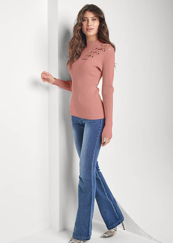 Full front view Lace Up Mock Neck Sweater