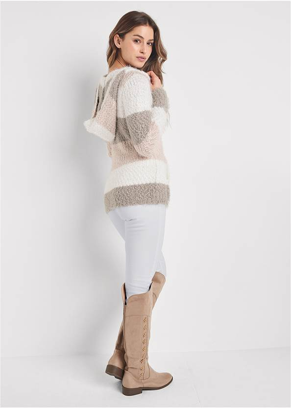 Full back view Cozy Striped Hooded Sweater