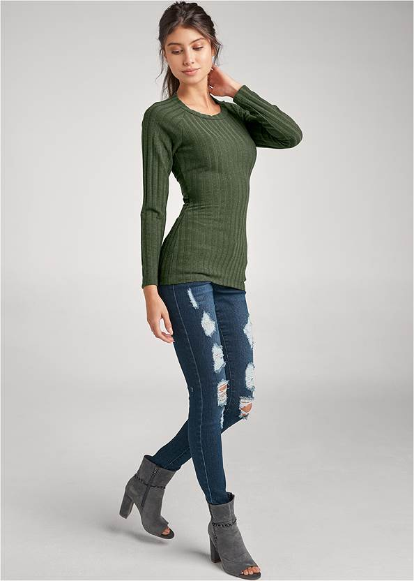 Full front view Ribbed Twist Back Top