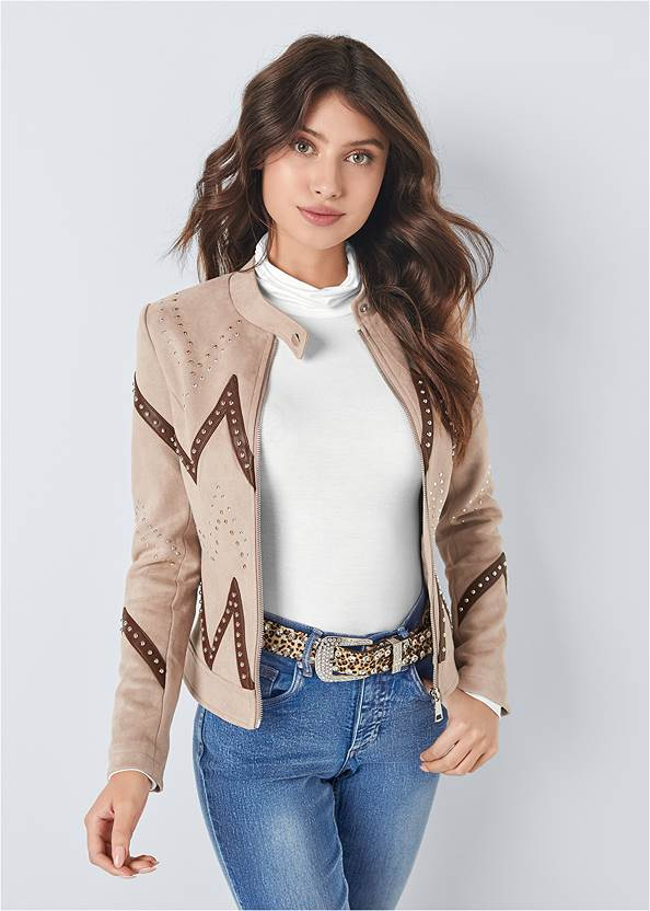 Full front view Faux Suede Moto Jacket