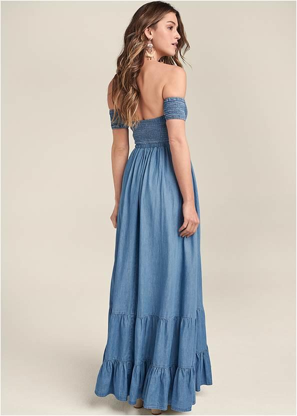 Full back view Off-The-Shoulder Maxi Dress