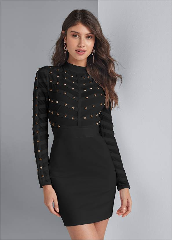 Studded Bodycon Dress,Sexy Ankle Strap Heels,Studded Faux Leather Tote