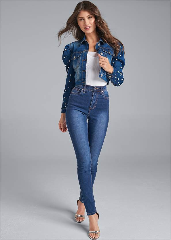 Full front view Puff Sleeve Jean Jacket
