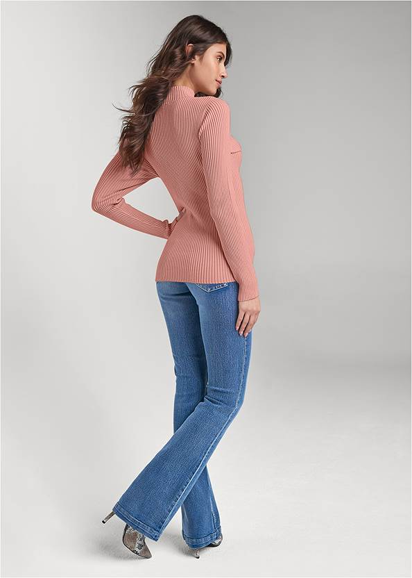 Full back view Lace Up Mock Neck Sweater