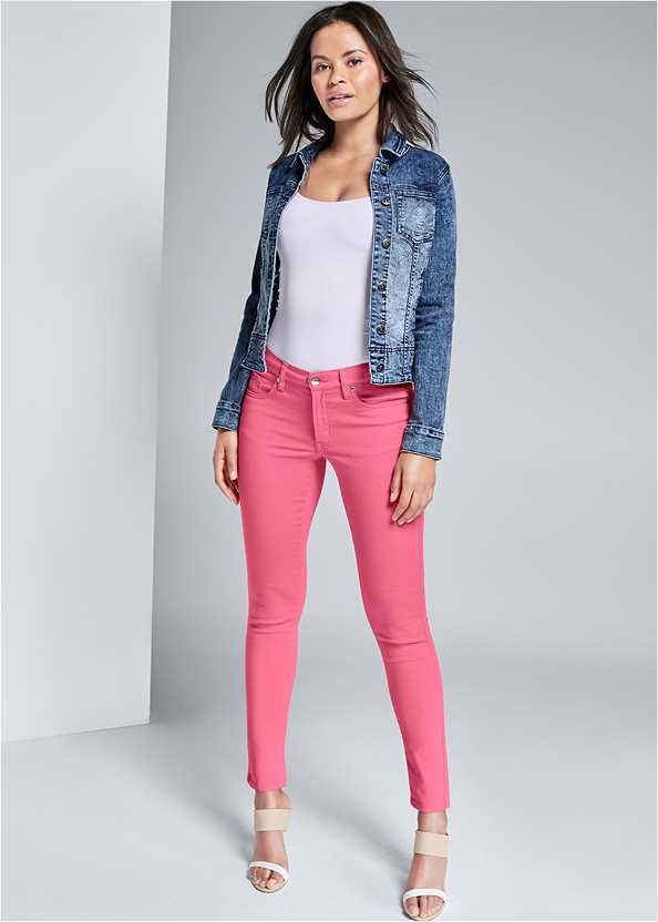 Mid Rise Color Skinny Jeans,Basic Cami Two Pack,Jean Jacket,Ankle Strap Cork Heel,Beaded Chandelier Earrings,Raffia Detail Bag