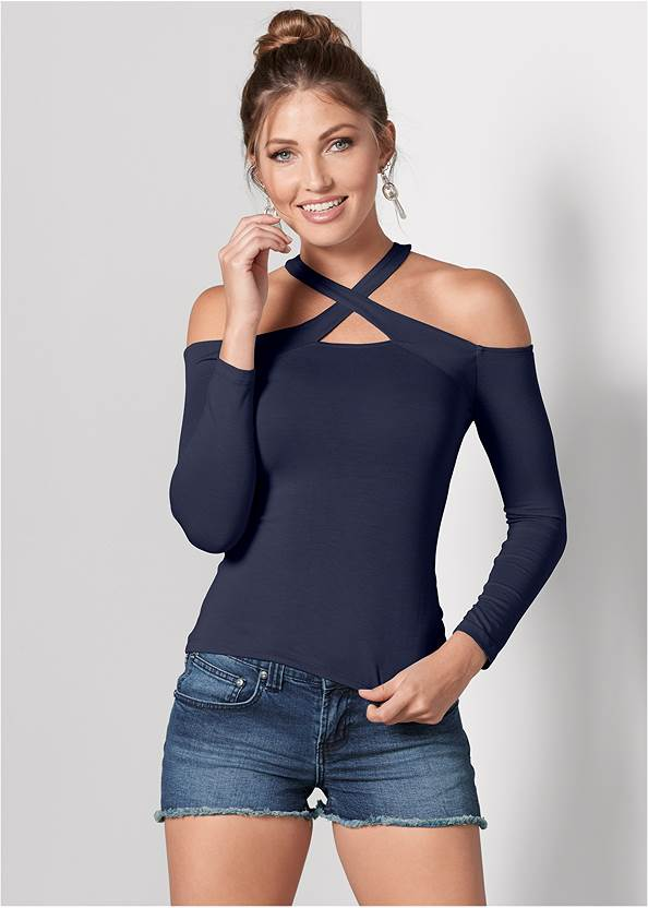Crisscross Neck Top,Frayed Cut Off Jean Shorts,Embellished Wedges