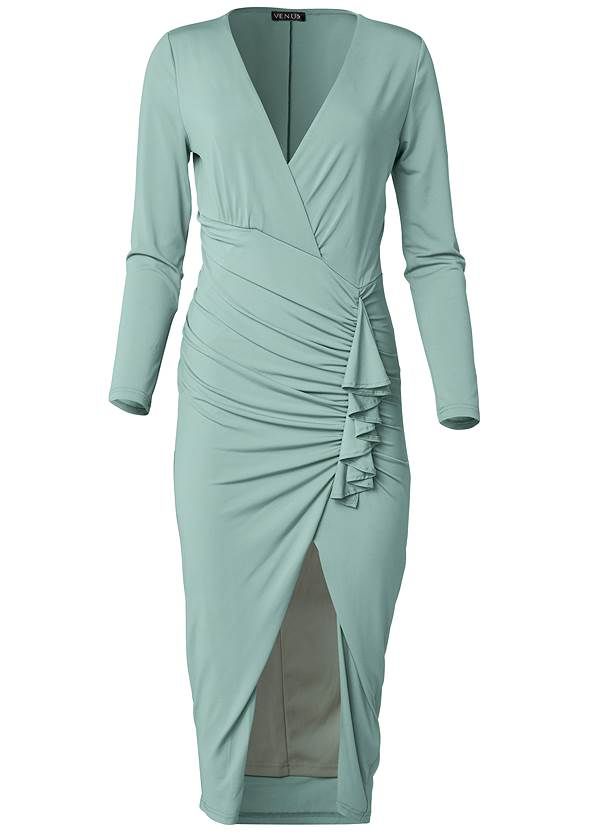 Ghost with background  view V-Neck Ruched Bodycon Dress
