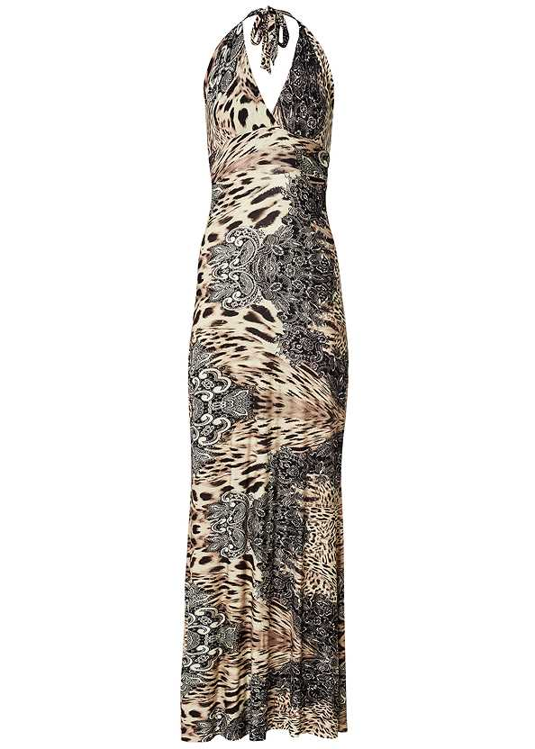 Leopard Halter Maxi Dress,Jewel Toe Loop Lucite Sandal