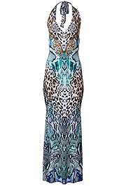Alternate View Halter Printed Maxi Dress