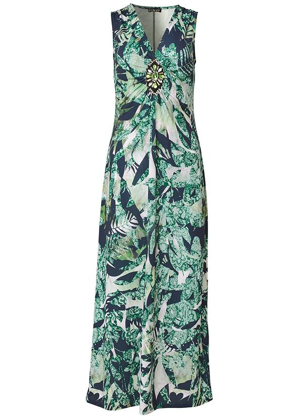 Ghost with background  view Tropical Print Maxi Dress