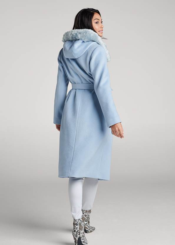 Full back view Long Belted Coat With Hood