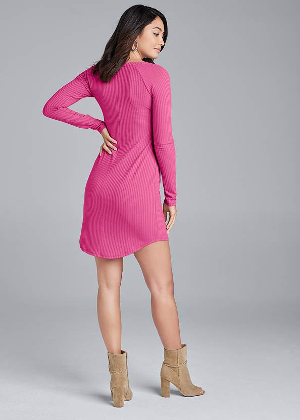 Back View Ribbed Henley Dress