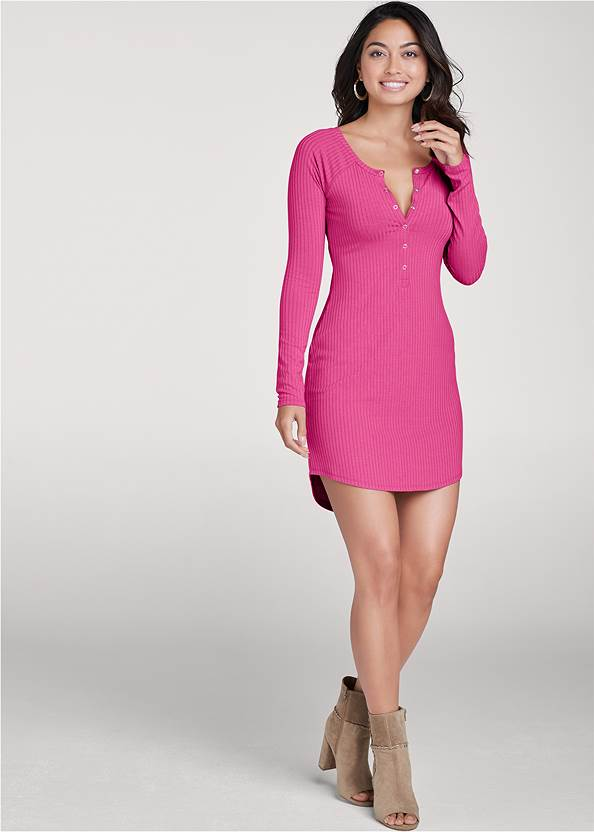 Full Front View Ribbed Henley Dress
