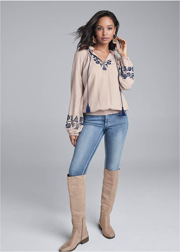 Full front view Embroidered Boho Top