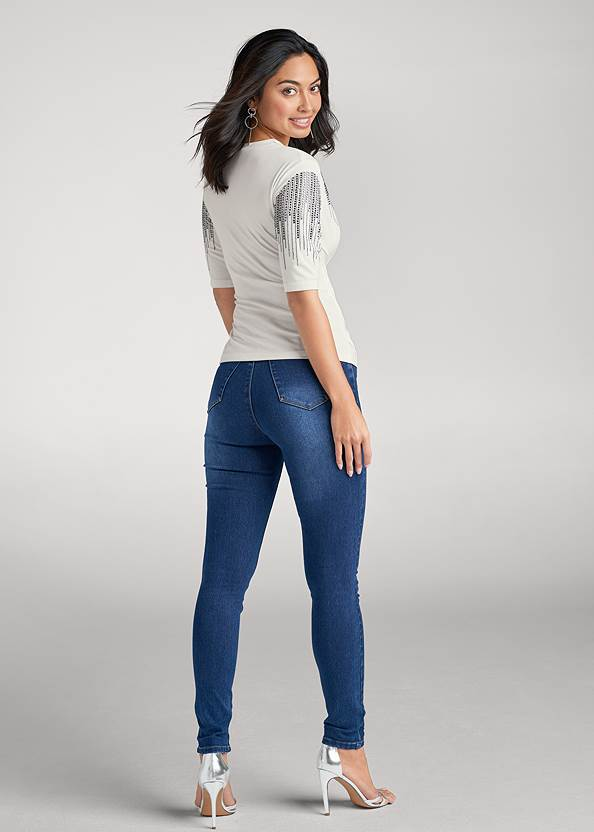 Full back view Embellished Sleeve Top