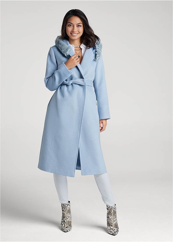 Long Belted Coat With Hood,Button Up Bodysuit,Mid Rise Color Skinny Jeans,Bum Lifter Jeans,Sexy Ankle Strap Heels,Circle Detail Booties,Layered Pendant Necklace,Allover Rhinestone Handbag