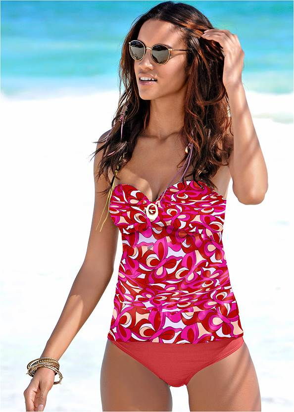Bandeau Tankini Set,Long Wrap Cover-Up Dress,Geometric Print Maxi Dress,Multi Color Stone Sandals