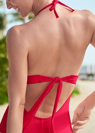 Alternate View Pleated Halter One-Piece