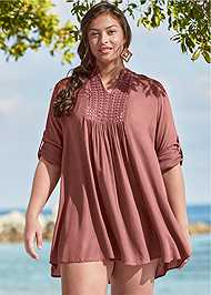 Front View Sheer Tunic Cover-Up