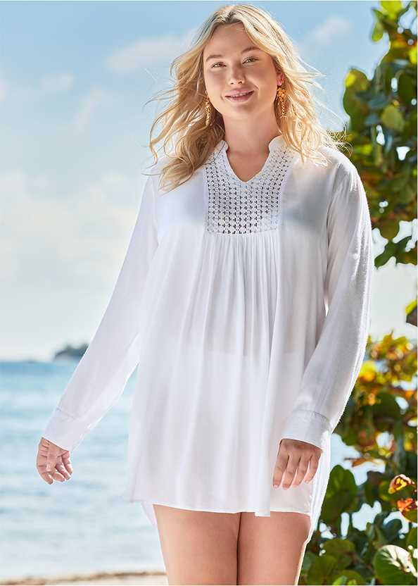 Sheer Tunic Cover-Up,Marilyn Underwire Push Up Halter Top,High Waist Shirred Bottom,Slimming Bandeau One-Piece,Multi Color Crochet Bag