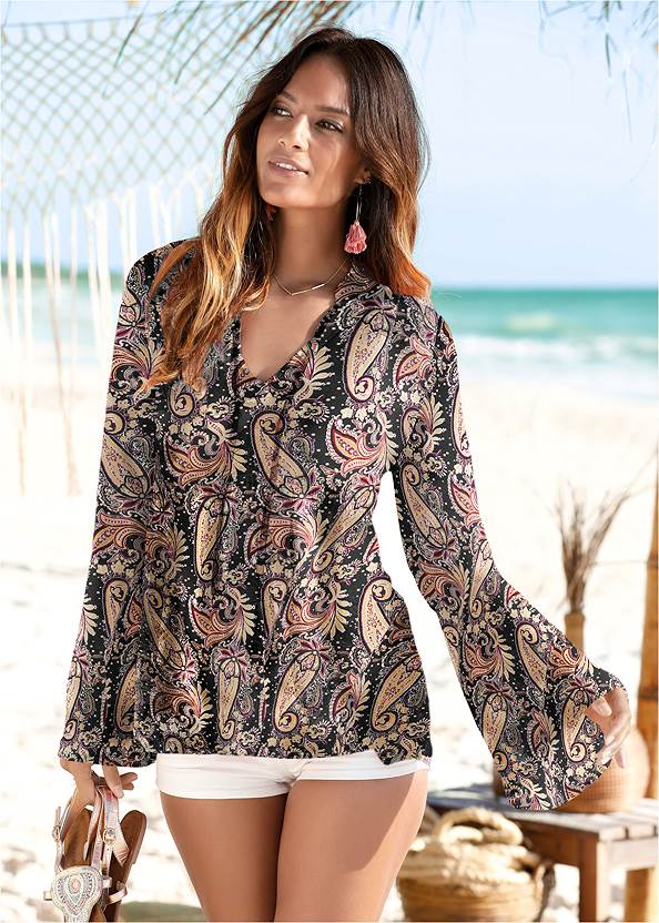 Paisley Printed Top,Bum Lifter Jeans,Side Zipper Jeans,Lace Up Tall Boots,Studded Over The Knee Boots,Boho Chandelier Earrings,Circle Basket Wooden Bag
