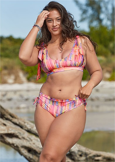 Plus Size Adjustable Side Tie Hipster Bottoms