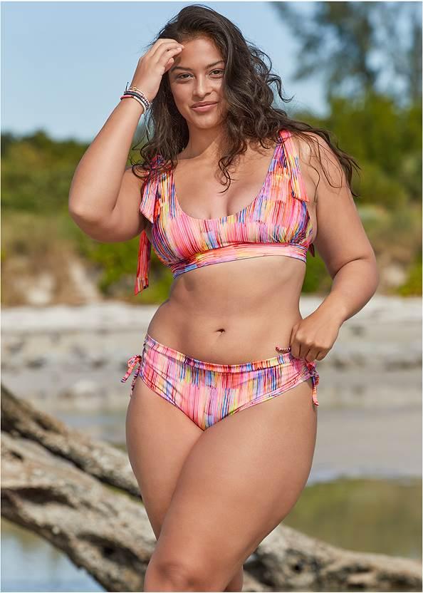 Nikki Bralette Top,Adjustable Side Tie Hipster Bottoms,Mid Rise Hipster Classic Bikini Bottom,Bold Bottom