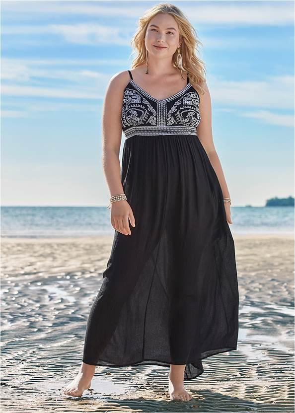 Embroidered Cover-Up Dress,Goddess Enhancer Push Up Halter Top,Full Coverage Mid Rise Hipster Bikini Bottom,Crisscross One-Piece