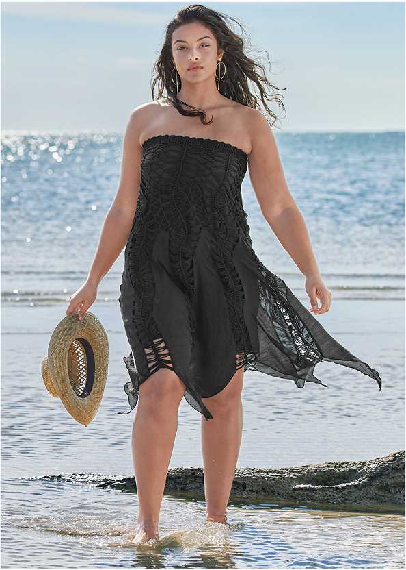 Convertible Fringe Coverup,Goddess Enhancer Push Up Halter Top,Goddess Mid Rise Bottom,Bandeau Ring One-Piece,Macrame Handbag