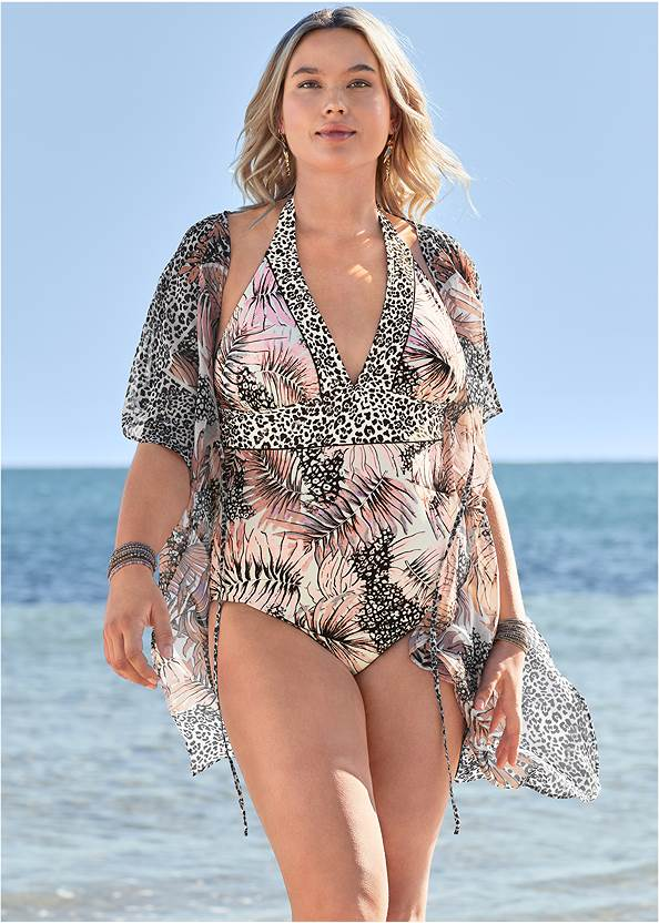 Bohemian One-Piece,Front Tie Kimono Cover-Up,Sheer Tunic Cover-Up