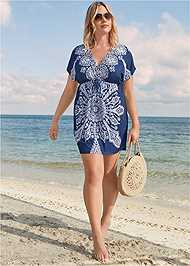 Full Front View Printed Cover-Up Dress