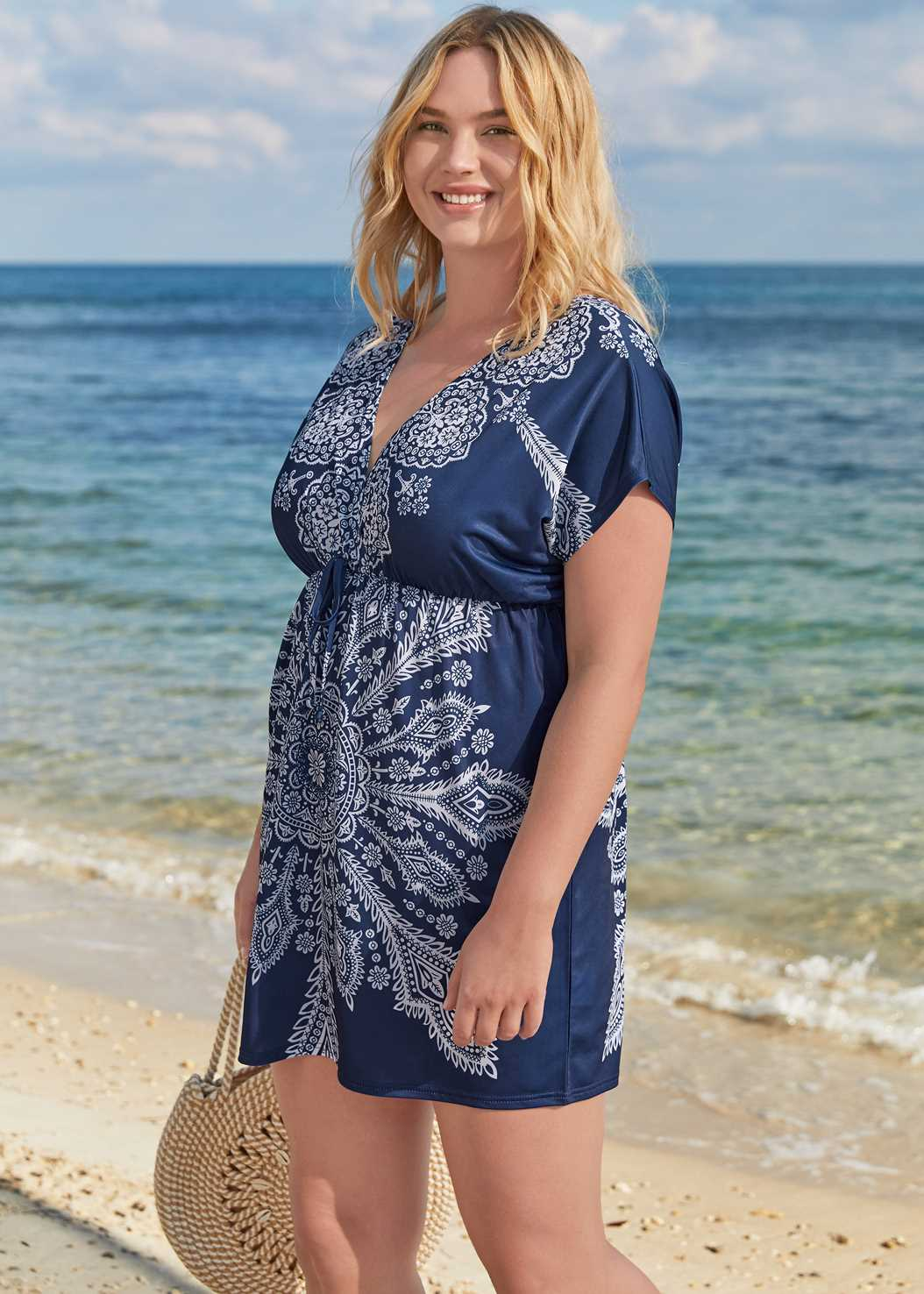 Printed Cover-Up Dress,Blouson Bandeau Tankini Top,Full Coverage Mid Rise Hipster Bikini Bottom,Sustainable Giada One-Piece,Ring Handle Straw Tote