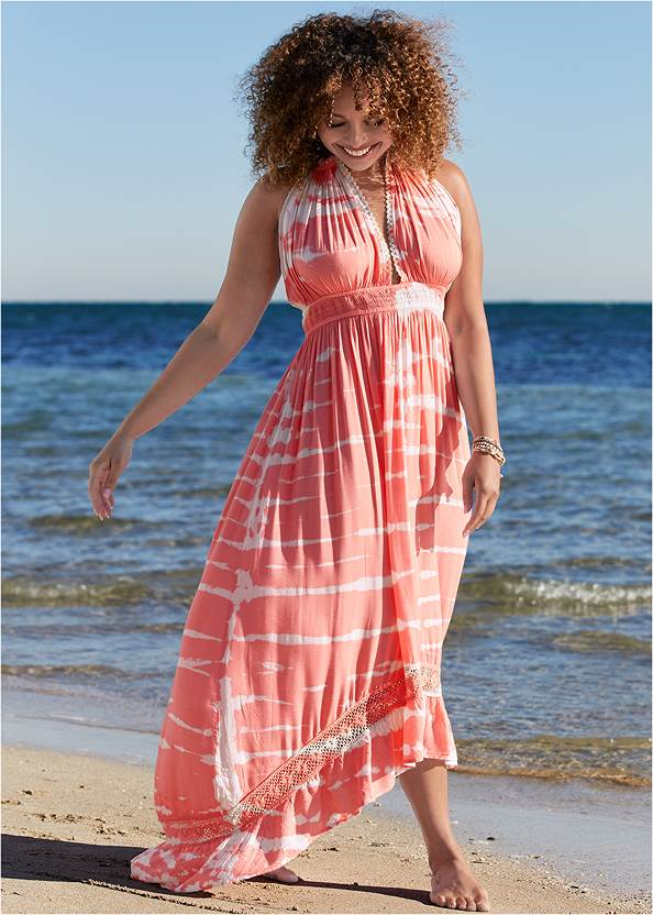 Tie-Dye Cover-Up Dress,Heavenly Halter Top,High Waist Bottom,Slimming Bandeau One-Piece