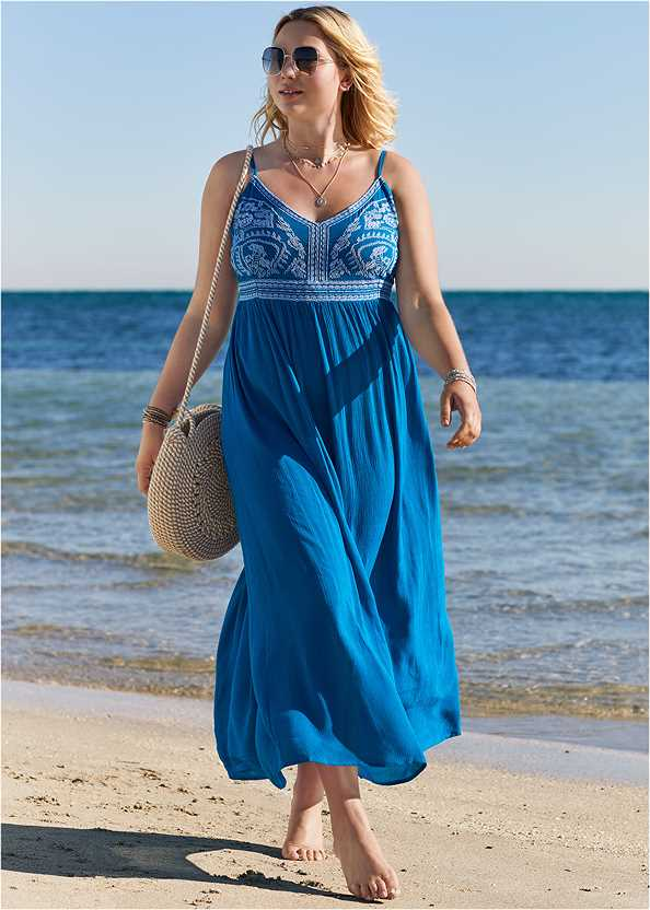 Embroidered Cover-Up Dress,Goddess Enhancer Push Up Halter Top,Full Coverage Mid Rise Hipster Bikini Bottom,Crisscross One-Piece,Net Bag