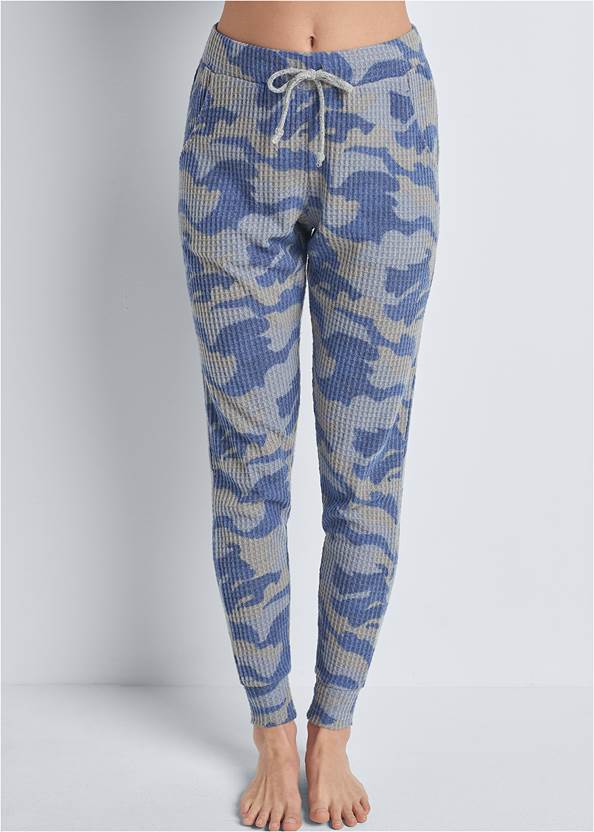 Front View Cozy Waffle Lounge Pant