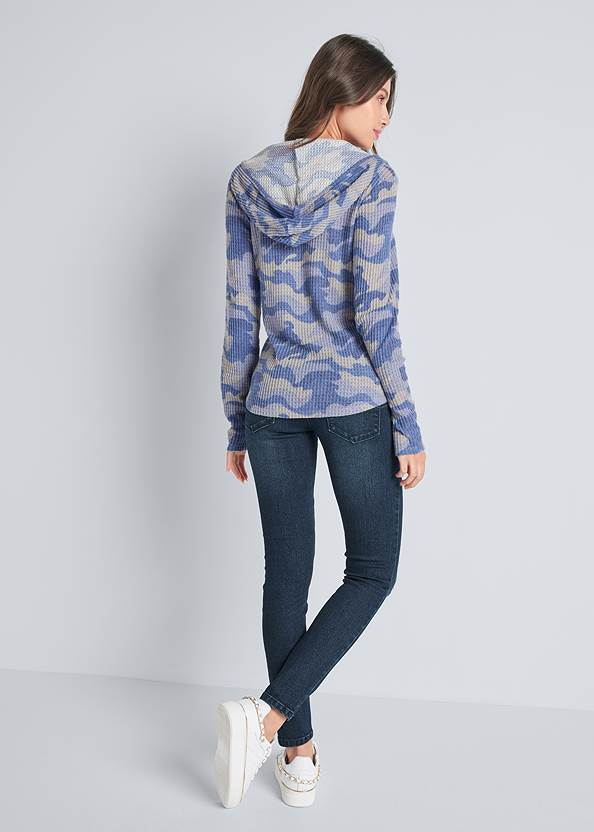 Full back view Cozy Waffle Knit Lounge Top