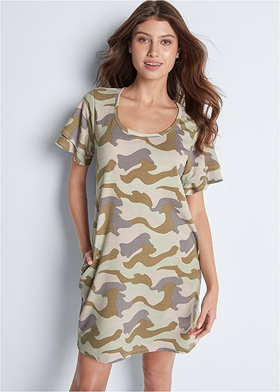 ruffle sleeve camo dress