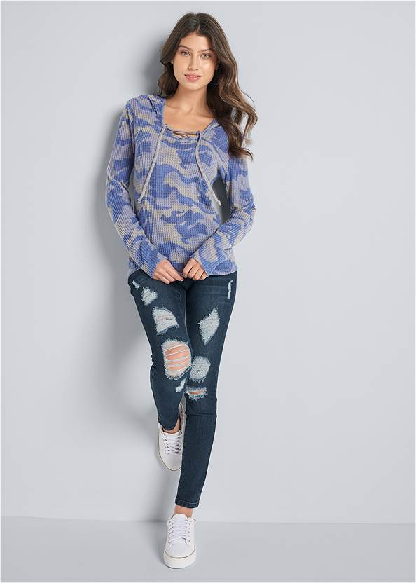 Full front view Cozy Waffle Knit Lounge Top
