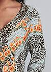 Detail front view Mixed Print V-Neck Top