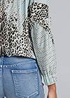 Detail back view Mixed Print V-Neck Top