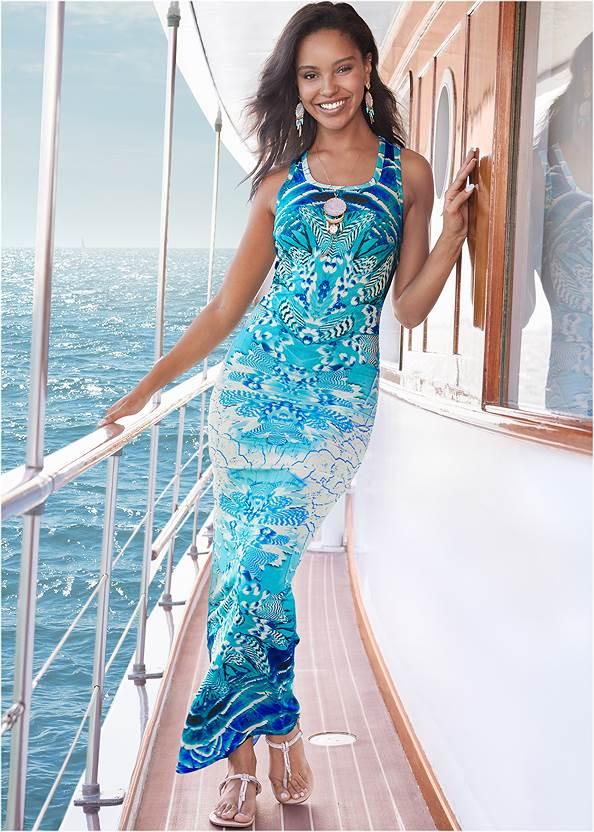 Ruched Printed Maxi Dress,Rhinestone Thong Sandals,Animal Chain Crossbody Bag